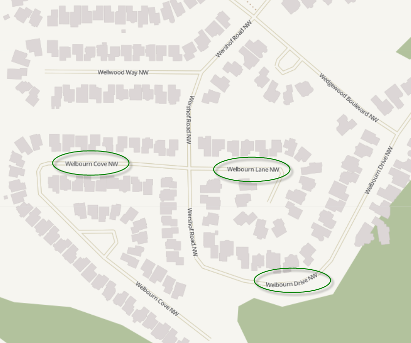 A map showing an area with three different street types with the same name.