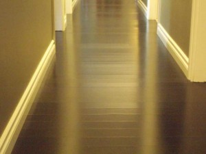 Hallway with engineered hardwood flooring in black