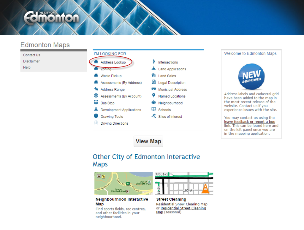 City of Edmonton Maps Screenshot (Page 1)