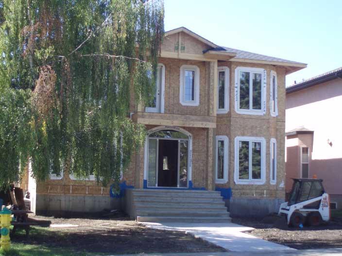 Infill home under construction in Sherwood, Edmonton