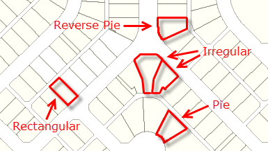 Examples of a pie, reverse pie, rectangular and irregular lots