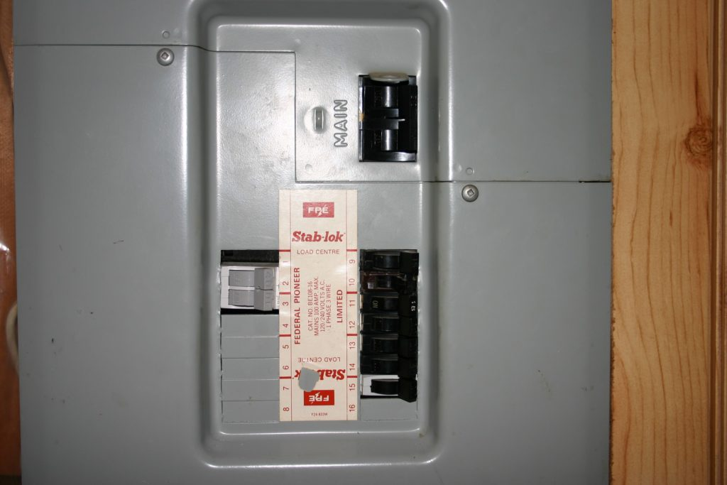 A 50-amp electrical panel in a house in Edmonton