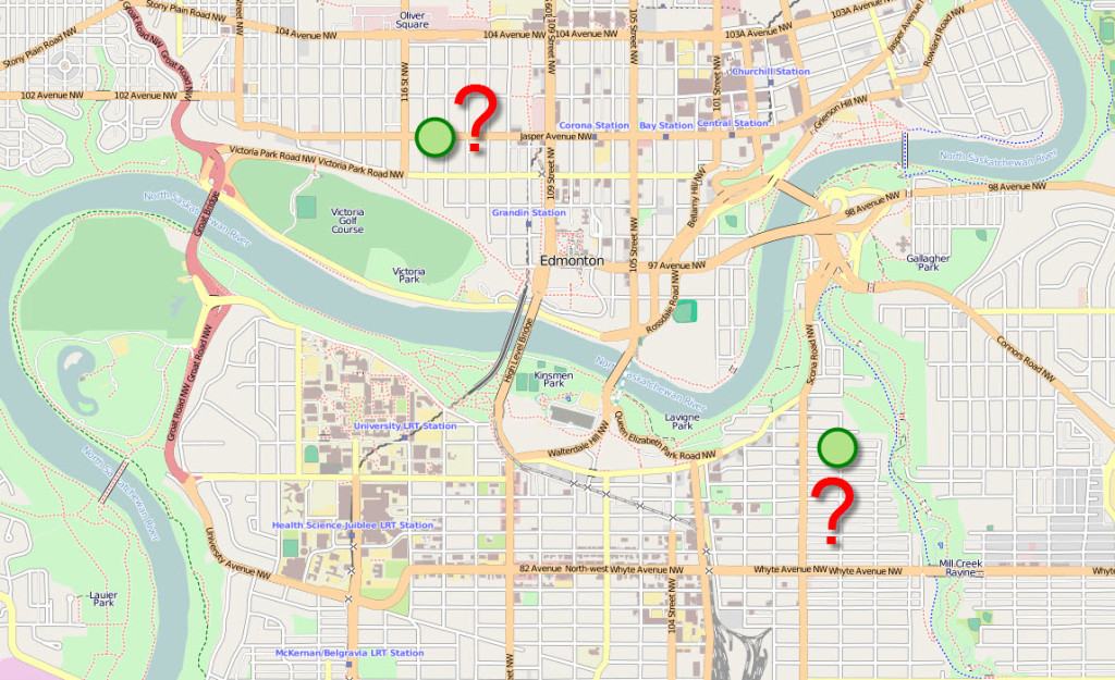 Map of Edmonton - Two Possible Property Locations