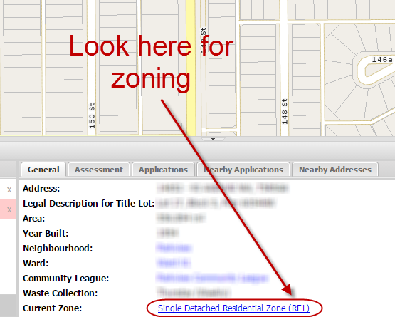 Next, check the zoning on the bottom of the page