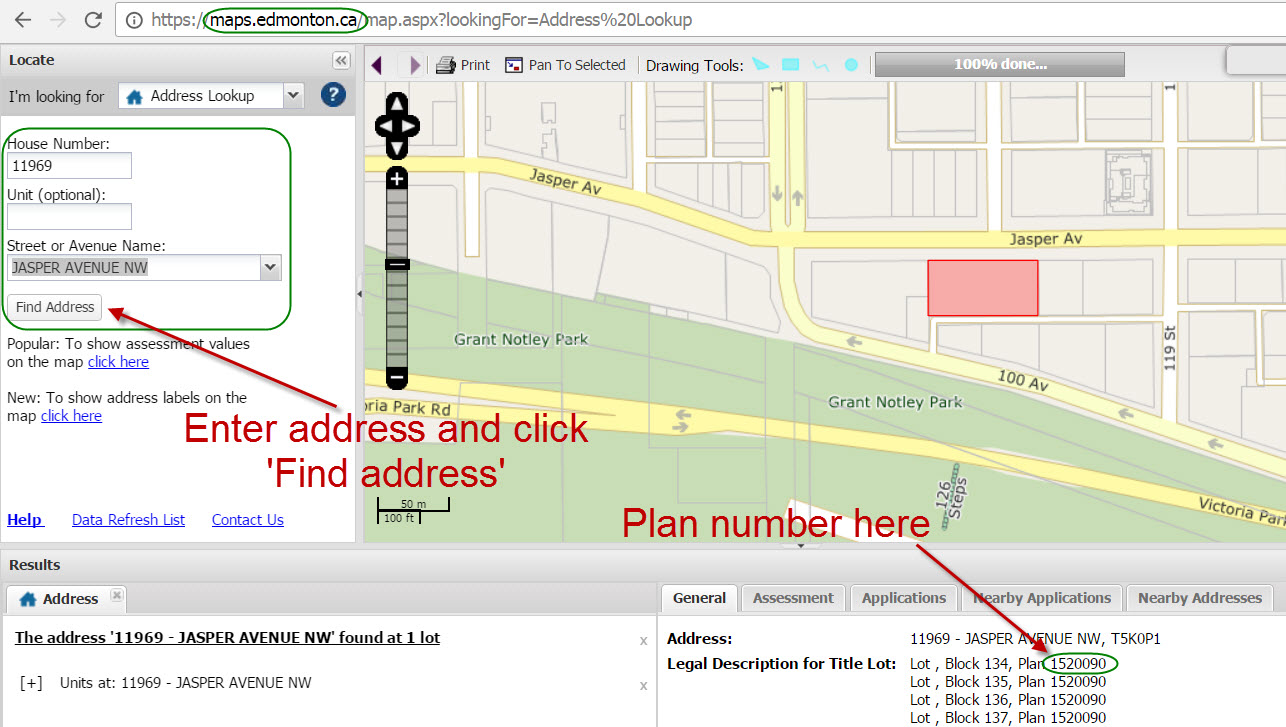 Find Condo Plan Number using City of Edmonton Maps Website