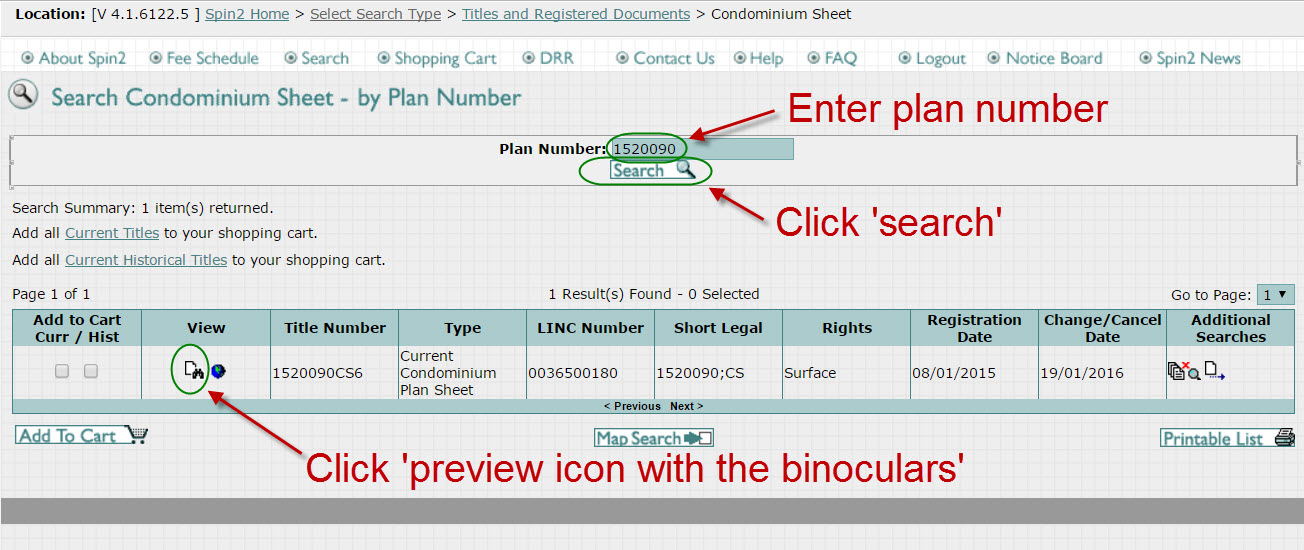 Search the condominium plan number on Spin2