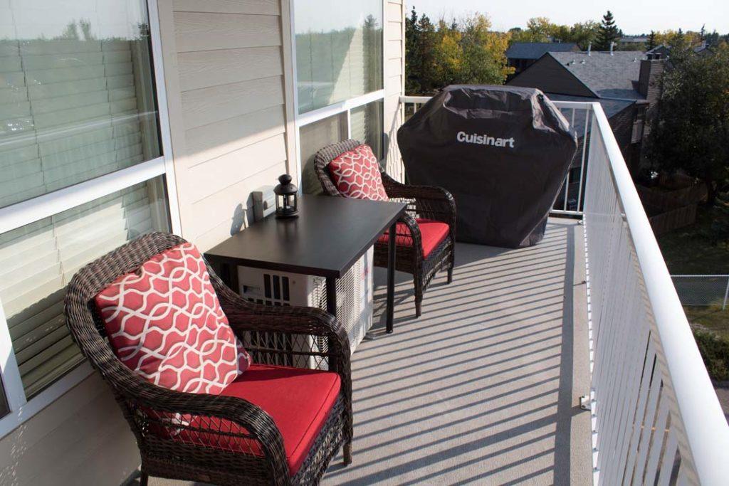 A condominium balcony in Callingwood, Edmonton